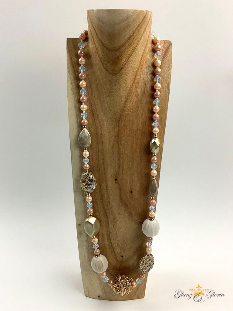 Glanz & Gloria - lange Halskette mit Schmucksteinen und Perlen - Sommerkollektion 2020