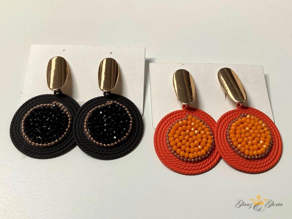 Glanz & Gloria - modische Ohrringe in Schwarz und Orange - Sommerkollektion 2020
