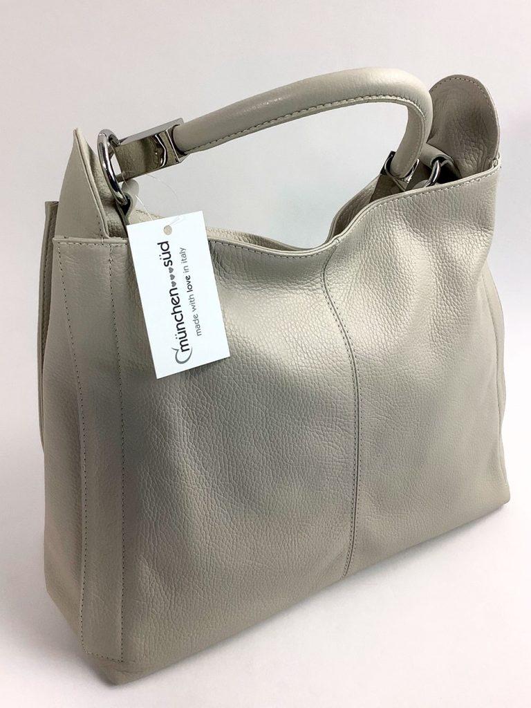 Handtasche aus grauem Echtleder - München Süd Sommerkollektion 2020