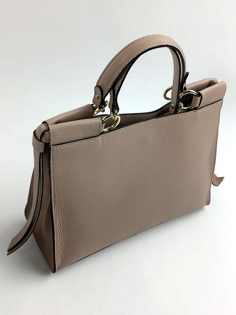 Stilvolle Business-Handtasche aus beigefarbenem Echtleder - München Süd Sommerkollektion 2020