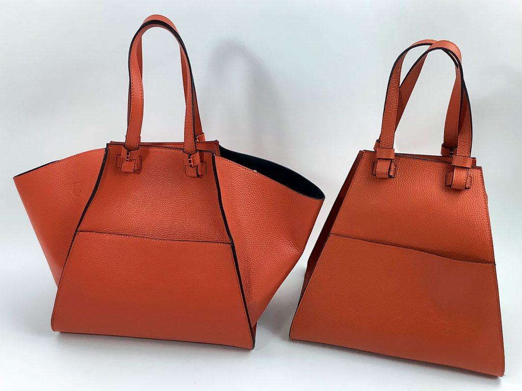 Modischer Shopper aus orangefarbenem Glattleder - München Süd Sommerkollektion 2020