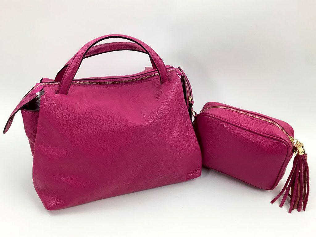 Trendfarbe Pink: Handtasche und Kosmetiktäschchen aus Glattleder - München Süd Sommerkollektion 2020