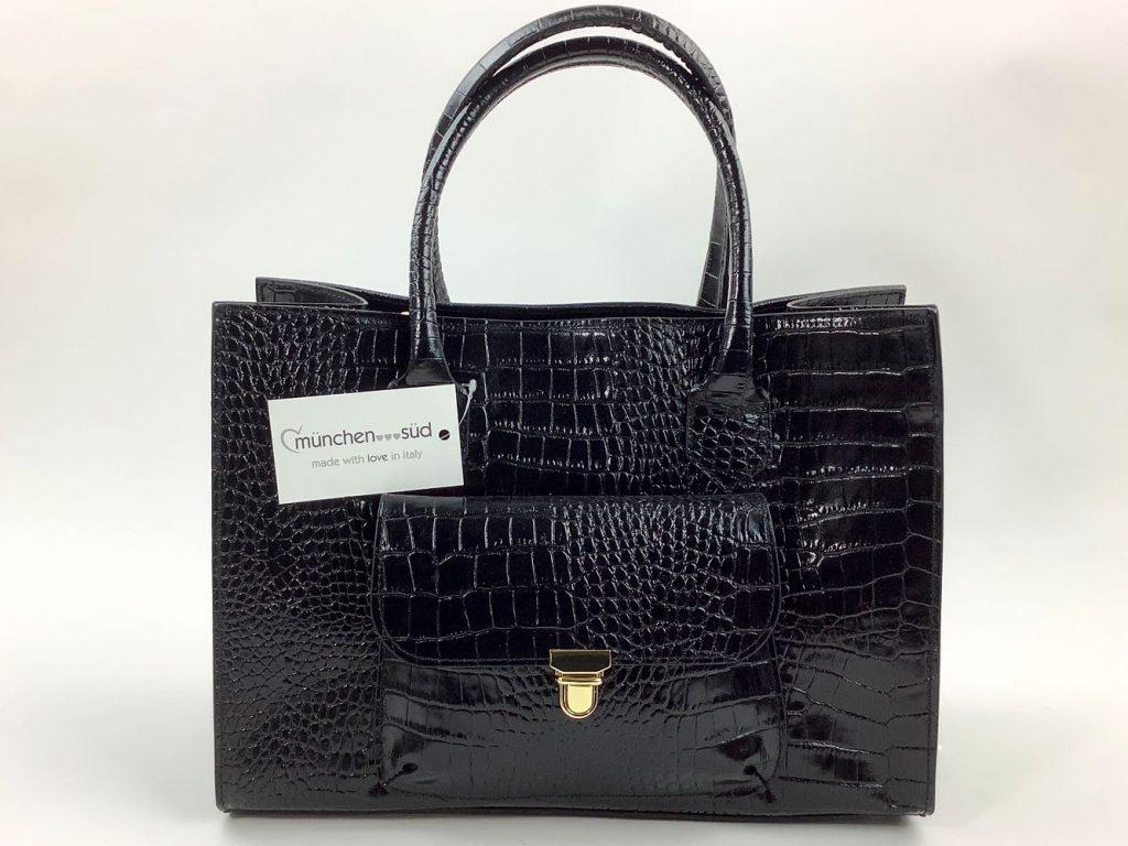 Edle Handtasche aus schwarzem Lackleder mit Krokoprägung - München Süd Sommerkollektion 2020