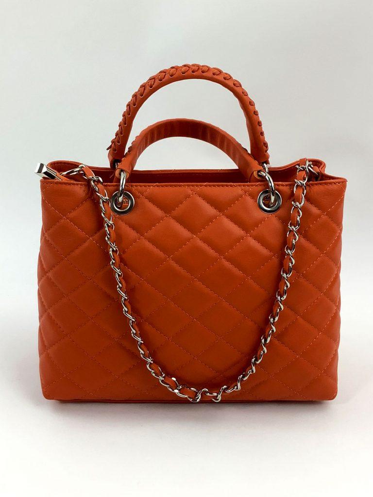 Lederhandtasche in der Trendfarbe Orange-Rot - München Süd Sommerkollektion 2020