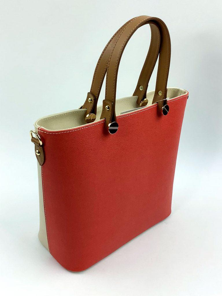 Schicke Bi-Color Handtasche aus Glattleder - München Süd Sommerkollektion 2020